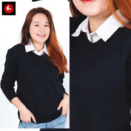 Foto Produk Sweater Rajut Knit Unisex Leher V Maroon Katun Polos Vanessa Okechuku - Navy, S fit to M dari Okechuku