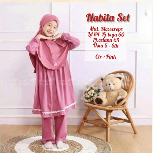 Foto Produk Setelan Anak 5-6 tahun Baju Muslim Anak Baju Setelan NABILA SET KIDS - pink dari TOF Bandung