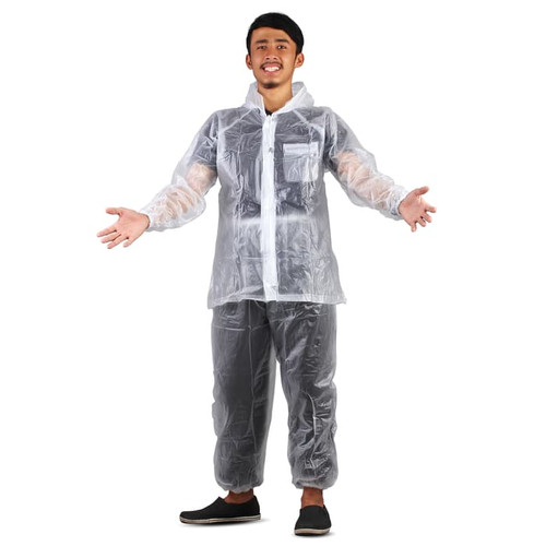 Foto Produk Jas Hujan Jaket Celana Transparan 700 Plevia Stelan Raincoat Murah - Putih dari Langit Biru