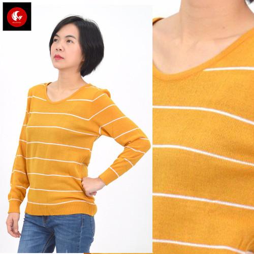 Foto Produk BERSKA Okechuku Knit Sweater Rajut Motif Salur Fashion Wanita Korea - Mustard dari Okechuku