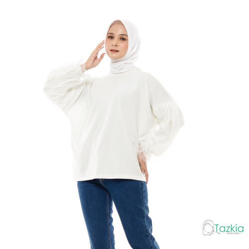 Foto Produk Atasan Muslim Wanita | Kimi Blouse Broken White| Oversized Babyterry - Broken White dari Tazkia Hijab Store