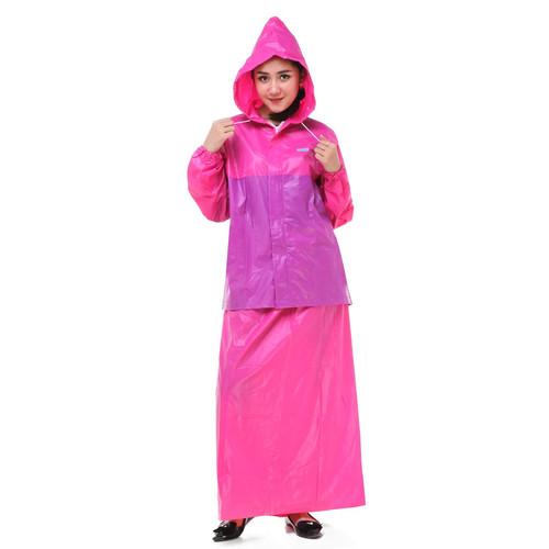 Foto Produk Jas Hujan Rok Valencia . Bentuk Setelan utk Perempuan Wanita Muslimah - Merah Muda dari Langit Biru