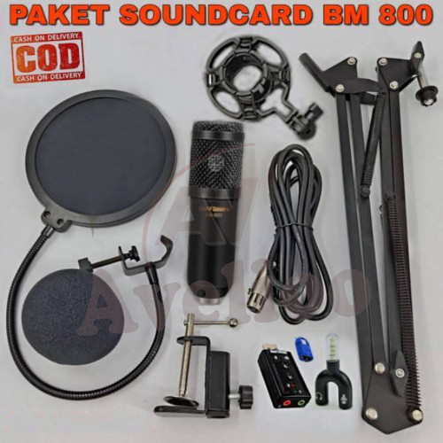 Foto Produk PAKET KUMPLIT MIC CONDENSER BM 800 + STAND + SOUNDCARD + SPLITTER - Hi - Hitam Gold dari Avelioo