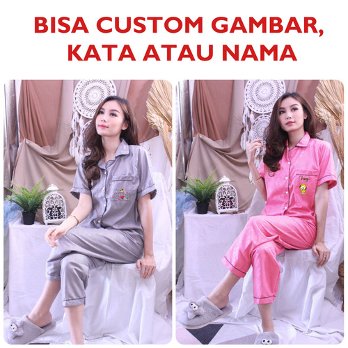 Foto Produk Baju Tidur Piyama Wanita BTS BT21 Bisa Request Gambar / Nama / Kata - Custom dari DjiehanClothing