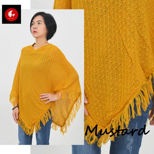 Foto Produk PONCO SALAK Okechuku Knit Outer Rajut Sweater Fashion Wanita Kekinian - Kuning dari Okechuku