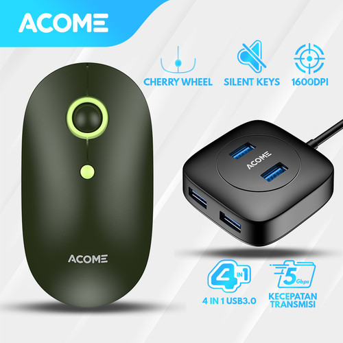 Foto Produk Acome Mouse Fashion Color Wireless Silent Click AM300 Free USB HUB - Bundling 1 dari Acome Indonesia