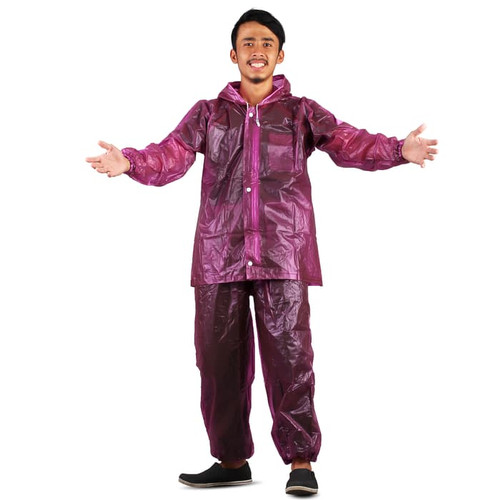 Foto Produk Jas Hujan Jaket Celana Transparan 700 Plevia Stelan Raincoat Murah - Ungu dari Langit Biru
