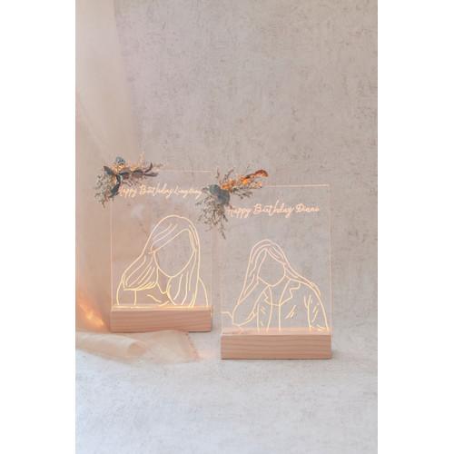 Foto Produk Acrylic Wood Frame | Frame foto | Dried flowers | Ilustrasi | Kado dari LaLuna Flower