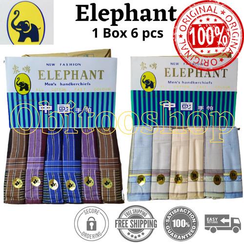 Foto Produk Sapu Tangan Pria / Selampe Cotton Elephant Cap Gajah (6 Pcs / Box) - Warna Muda dari Obitooshop