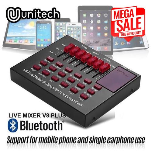 Foto Produk Mixer Audio V8 Plus Bluetooth Live Mixer Broadcast Audio Condensor USB dari Unitech Official