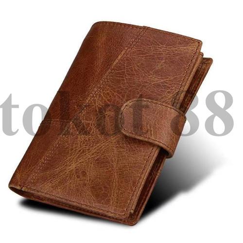Foto Produk Dompet Kartu Retro Pria kulit Asli CrazyHorse Leather wallet RFID - Cokelat dari tokot 88