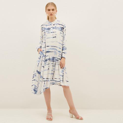 Foto Produk NONA Summer Dress Tie Dye Long Sleeve White Blue dari nona_ind