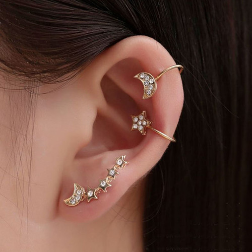 Foto Produk anting 1 sisi 3 pcs full diamon star moon earrings jan222 dari Oila