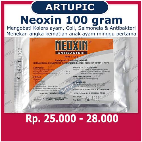 Foto Produk Neoxin 100 gram Kolera Coli Salmonela Antibakteri Pencernaan Ayam dari ArtupicPeralatanPeternak