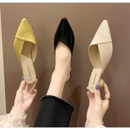 Foto Produk Mules Sandal Sepatu Chloe hak 3cm Gio Saverino - BLACK, 36 dari Gio Saverino