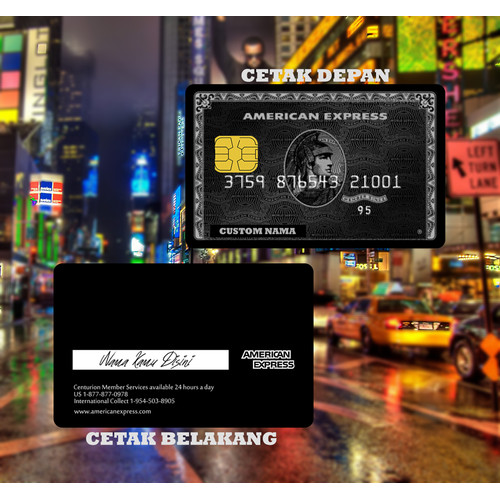 Foto Produk KARTU FLAZZ BCA GEN 2 CUSTOM | EMONEY DESIGN AMEX BLACK CARD E MONEY - FLAZZ BCA, cetak depan dari custom case ink