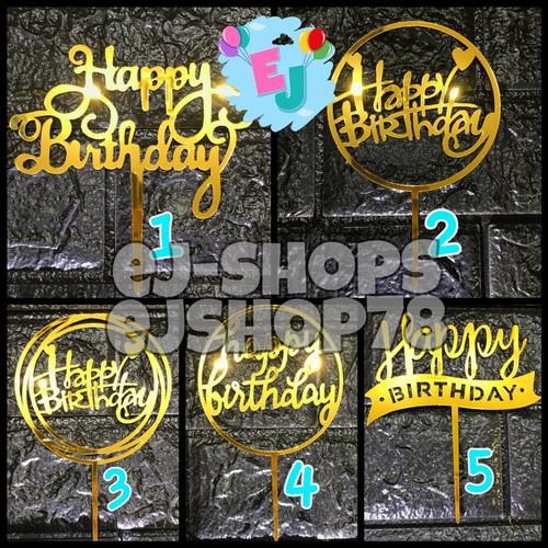 Foto Produk Cake Topper Happy Birthday / Hiasan Kue Happy Birthday Acrylic - Gold 4 dari ej-shops