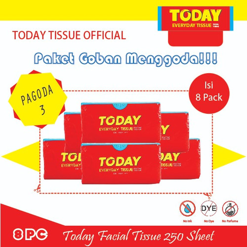 Foto Produk Tissue Today - Pagoda 3 ( 8 Pcs Today Tissue 250 Sheet ) dari Today Tissue Official