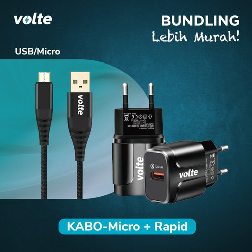 Foto Produk BUNDLING VOLTE RAPID Kepala Charger 1 port USB-A Quick Charge 3.0 - Rapid-Micro dari volte indonesia