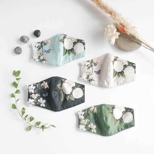 Foto Produk masker kain 3 lapis Peony White series Seruni Living - all color 4 pcs, earloop dari Seruni Living