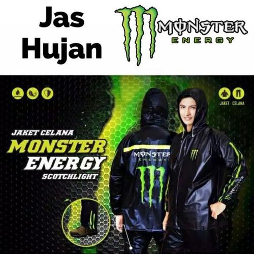 Foto Produk Jas hujan setelan monster energi black hitam/raincoat jaket celana dari BBTronik
