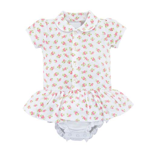 Foto Produk Baju Dress Jumper Bayi Perempuan 0-6 Bulan 100% Katun Organik Premium - Sweet Roses, 0-2 Bulan dari LilLove Store
