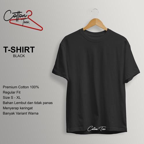 Foto Produk Kaos Polos Baju Pria Kaos Pria Premium Cotton Kaos Lengan Pendek BLACK - S dari COTTON TEES