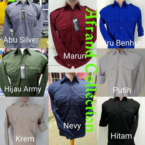 Foto Produk seragam baju kemeja kerja pangkat panjang nevy ,baju tran tv ,baju pdh - Nevy, M dari Afrandcollection