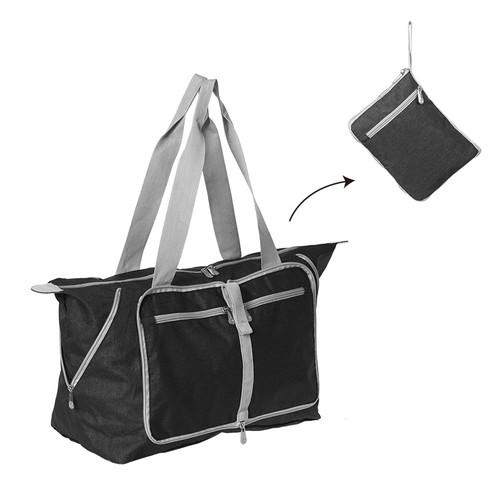 Foto Produk Korean Waterproof Foldable Travel Bag   Tas Belanja Lipat Tahan Air - Hitam dari Arami Lifestyle