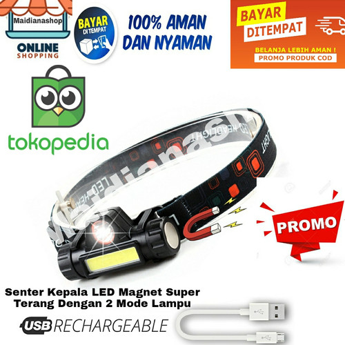 Foto Produk Senter Kepala Mini Head Lamp Led COB Rechargeable Plus Magnet dari maidianashop