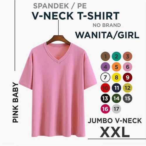 Foto Produk (promo) xxl kaos polos wanita V-neck - pink, XXL dari rejekyindah