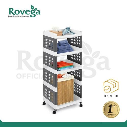 Foto Produk Rovega Supra Rak Susun 4 Tingkat dengan Roda Premium 4 Tier Rack - Abu-abu dari ROVEGA OFFICIAL STORE