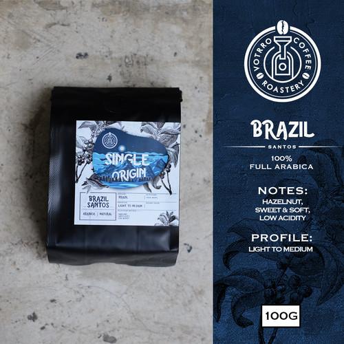 Foto Produk Biji Kopi Arabika BRAZIL SANTOS Natural 100g - Roasted - Whole Beans dari VOTRRO Coffee