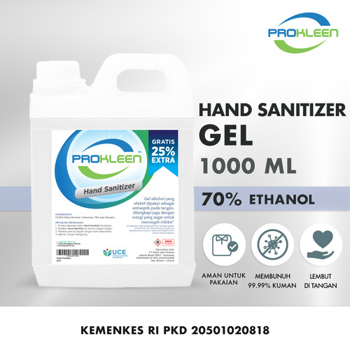 Foto Produk Hand Sanitizer GEL 70% Food Grade Antiseptic Antiseptik PROKLEEN 1L - NON Food Grade dari United Cleaning Official