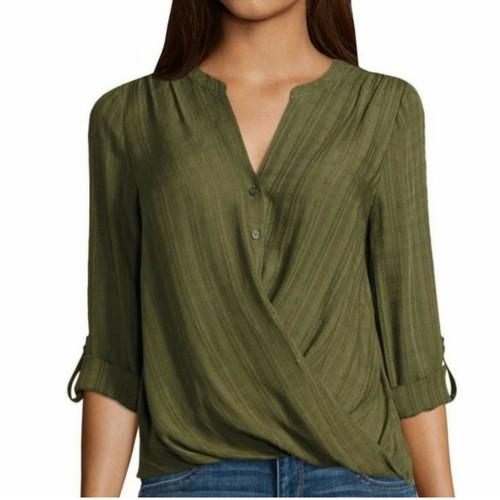 Foto Produk Jc penney Blouse wanita lengan panjang sisa ekpsor (hijau army) dari Pangkalan Baju
