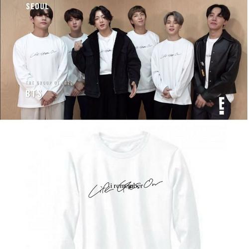 Foto Produk Kaos T-shirt BTS LIFE GOES ON Lengan Panjang Free Foto - Putih, S dari Kaysan_Shopp