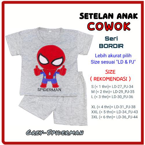 Foto Produk Setelan stelan kaos baju anak laki-laki cowok karakter murah 1-6 tahun - GREY-SPIDERMAN, S dari Tanjung Kids