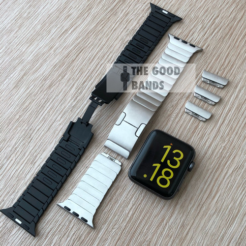 Foto Produk Strap Apple Watch Seri SE 6 5 4 Stainless Link Bracelet Tali 42mm 44mm - BLACK, 42/44MM dari The Good Bands