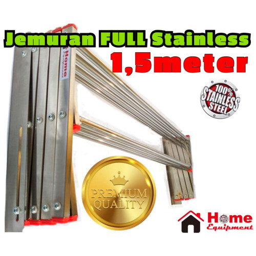 Foto Produk Jemuran Dinding Jemuran Tembok FULL STAINLESS PANJANG 150cm + 7 Palang - 150cm dari home_equipment