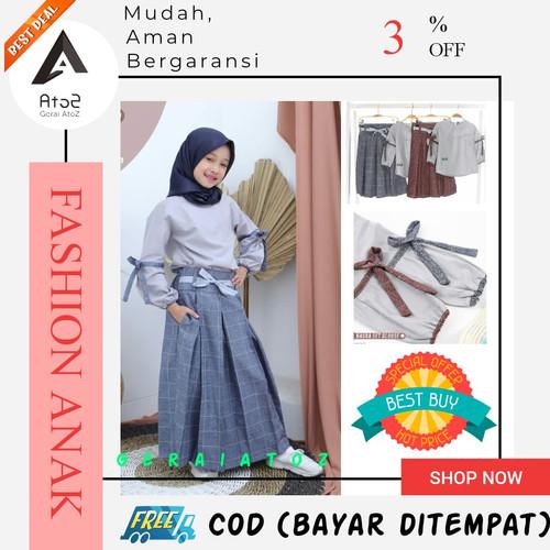 Foto Produk Blouse Set pakaian muslim gamis anak perempuan setelan - Abu Navy NSB01, 3-4 tahun dari GeraiAtoZ