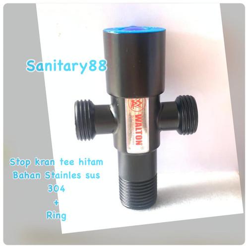 Foto Produk Stop Kran Cabang T Stainless 304 HITAM Kran air Shower Tee double dari Sanitary88