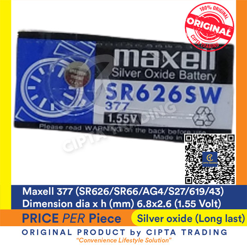 Foto Produk Button Cell - Maxell - 377 (SR626SW) dari Cipta Trading