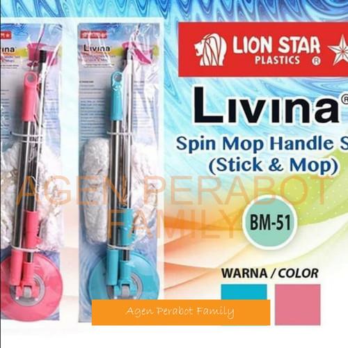 Foto Produk Tongkat Alat Pel Lantai / Livina Spin Mop Handle Set Lion Star BM 51 dari AGEN PERABOT FAMILY