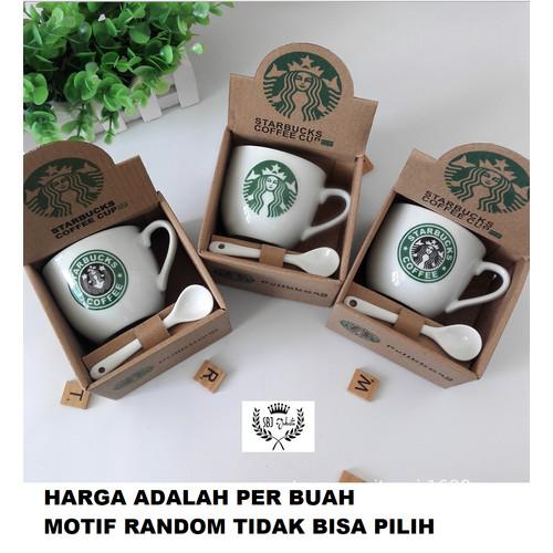 Foto Produk Cangkir Keramik Starbucks Gift Set Ceramic Mug Starbucks dengan sendok - Ukuran 210 ml dari SBJ-Jakarta
