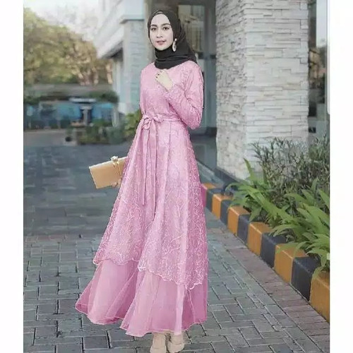 Foto Produk DRESS TILE MUSLIM WANITA BAJU MUSLIM BRUKAT PESTA TERBARU NO JILBAB - pink dari YasmineCollection's