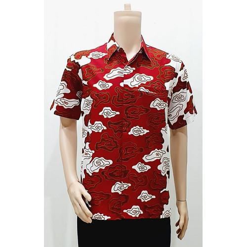 Foto Produk Kemeja Baju Seragam Pria Batik Murah Kantor 2900 Merah M L XL XXL XXXL - M dari Arumi Batik