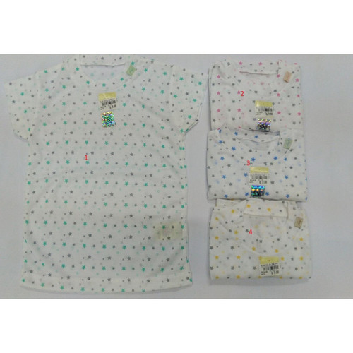 Foto Produk Nary Oblong Tipis Tangan Pendek Print Baju Polos Anak Daleman Bayi - 4 bintang kunin, 0-3 Bulan dari Lavie Baby House