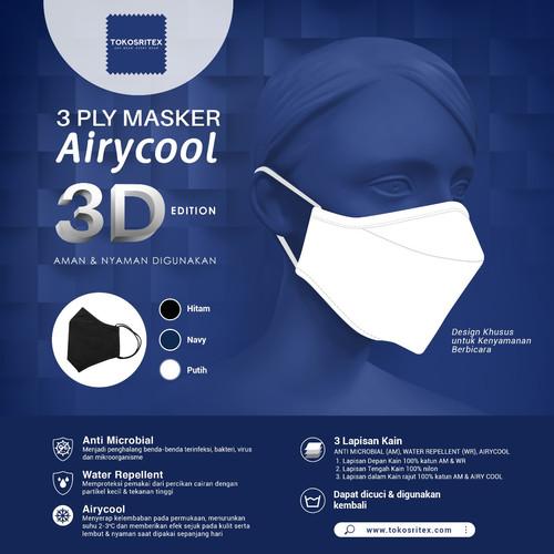 Foto Produk Baru! Masker Kain Airycool 3D Dewasa Anti Mikrobial dan Air (10 pcs) - Kids White dari Sritex Official Store