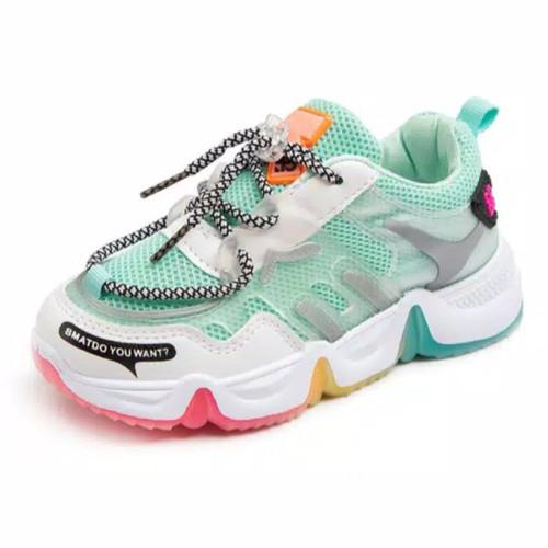 Foto Produk Sepatu Anak Perempuan Casual Sneaker Non LED Korea Style Green - 27 dari Radium