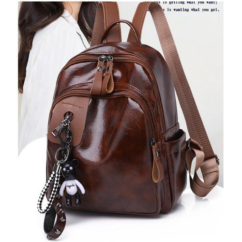 Foto Produk Tas Ransel Import Backpack Wanita Punggung Sekolah Kuliah Kerja 116 - Cokelat dari Tas import Batam 14